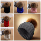 Winter Warm Women Ladies Fur Knitted Ski Pom Bobble Baggy Crochet Beanie Cap Hat