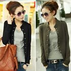 Autumn Spring Women Double Breasted Stand Collar Small Top Jacket Coat Cardigan