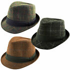 K.I Co.Deluxe Unisex Harris Tweed Woven Check Trilby Fedora Hat