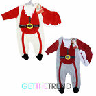 Girls Boys Baby Santa Outfit Toddlers Red Novelty Xmas All In One Fleece Romper