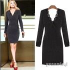 Pop Sexy Autumn Winter Women Bodycon Formal Evening Cocktail Party Sweater Dress