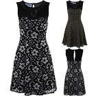 Women's Floral Lined Mesh Cut Out Back Jewelled Front Ladies Flare Skater Dress
