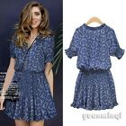 Vintage Geometric Floral Women Boho Cocktail Party Chiffon Casual Mini Dress