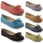 New Ladies Womens Flat Summer Dolly Ballerina Shoes Girls Ballet Pumps Size