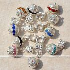 10Pc Dangle Crystal Ball European Loose Spacer Beads Fit Charm Bracelets Jewelry