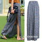 Sexy Women Floral Print High Waist Slit Boho Summer Party Casual Maxi Long Skirt