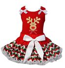 Christmas Red Green White Chevron Reversible Pettiskirt Reindeer Party Dress