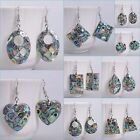 Abalone shell mosaic dangle earrings