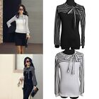 Fashion Women's Casual Bowknot Neck Striped Long Sleeve Blouse Shirt Tops