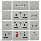 SCREWLESS FLATPLATE LIGHT SWITCHES & PLUG SOCKETS BRUSHED CHROME BLACK INSERT