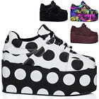 NEW WOMENS FLAT LACE UP FLATFORM CREEPER PLATFORM TRAINER SHOES PUMPS US 5-10