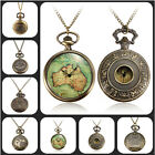 Retro Vintage Brozne Punk Steampunk Quartz Pocket Watch Pendant Chain Necklace