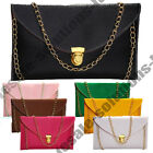 New Ladies Leather Envelope Clutch Chain Purse Evening Shoulder Tote Handbag
