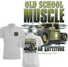 Hot Rod Army Polo Shirt Old School Muscle Route 66  Print