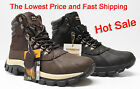 Kingshow Men's Winter Snow Boots Shoes Brown Genuine Leather Waterproof