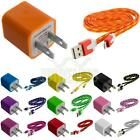 Noodle Rope Braided Sync Usb Data Cable 3ft+wall Travel Ac Charger For Iphone