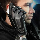 Mens Luxurious Leather Winter Super Warm Gloves Cashmere Lining Cycling Gloves Q