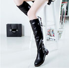 Women's Riding Boots Strappy Buckle Round Toe Zip Knee High Flat Combat Shoes
