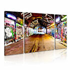 BANKSY Subway 1 Canvas 3B Framed Printed Wall Art ~ 3 Panels