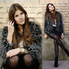 Collarless Long Sleeve Long Hairy Faux Fur Short Jackets Shaggy Outerwear Coat