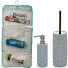 Ceramic Toilet Brush & Holder Soap Dispenser Wash Bag Bathroom Set White Chrome