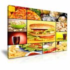 PIZZA BURGER CHIPS Fast Food Collage Canvas Framed Print ~ More Size