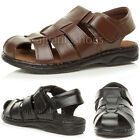 MENS FLAT LEATHER VELCRO CASUAL STRAP FISHERMAN SUMMER SANDALS SHOES SIZE
