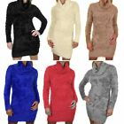 WOMENS LADIES ROLL TURTLE POLO NECK FLUFFY SOFT FUR STRETCHY JUMPER DRESS TOP