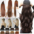 Professional CLIP IN HAIR EXTENTIONS one piece 3/4 FULL HEAD Wavy/straight US aa