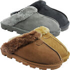 NEW WOMENS LADIES FAUX FUR LINED HARD SOLE SLIP ON SLIPPERS WARM WINTER SIZE