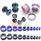 2p Dots Paint Splatter Stainless Steel TunnelS Ear PlugS Expander Stretcher M