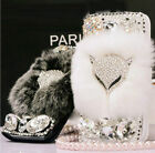 Bling Rabbit Fur Crystal Rhinestone Wallet Flip Leather Case Cover For iPhone