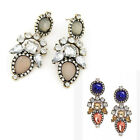 BEST PRICE Luxury Crystal Resin Flower Long Statement Dangle Earring Stud UK EW