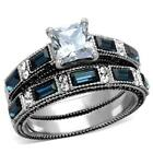Stainless Steel Princess Square Blue & Clear  CZ Wedding Engagement 2 Ring Set