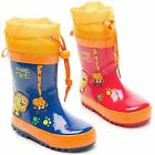New Girls Boys De Fonseca Waterproof Rain Toggle Wellington Boots Size 5-2.5