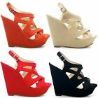 NEW STYLISH LADIES ANKLE STRAPPY CUT OUT BUCKLE FASHION WEDGE SANDALS SIZE 3-8