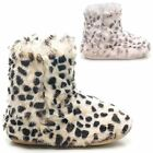 NEW LADIES FAUX FURRY LINING LEOPARD PRINT COMFY COSY SLIPPERS BOOTEE UK 3-8