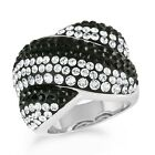 Black and White Crystal Chunky Fashion RIng In Gold-Plated Bronze