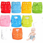 Baby Solid Multi Color Diapers Reuseable Washable Pocket Cloth Diaper +2Inserts