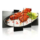 INDIAN FOOD 7 Asian Food & Drink 4A-RH Canvas Framed Printed Wall Art ~ 4 Panels