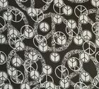 PEACE SIGNS 100% cotton fabric novelty RAINBOW white on black 1 yd FREE SHIP