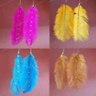 Natural Ostrich Feather Crystal Rhinestone Dangle Drop Hook Earring Jewelry Gift