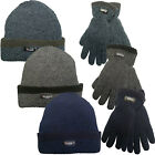 Mens Beanie Hat & Gloves ProClimate Thinsulate Chunky Ribbed Knit Winter Warmer
