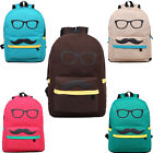 Discount UK~XMAS Canvas Mustache Sunglasses Travel Rucksack Schoolbag Backpack
