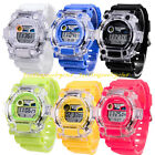 New Men's Women's LED Digital Alarm Military Army Sport Rubber Shiny Wrist Watch