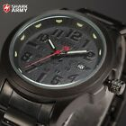 SHARK ARMY Black Analog Date Stainless Steel Military Quartz Men Sport Watch