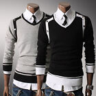 New Mens Premium Stylish Slim Fit V-neck Sweater Jumper Tops Cardigan-CA OD