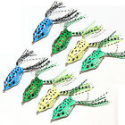 "2.5"" Soft Frog Top water Surface Fishing Lures Lure Hooks Freshwater Hollow"