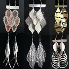 Fashion Party Show Jewelry Mix Style Silver Gold Leaves Drop Earrings for Women