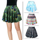 Fashion Women High Waist 3D Print tutu skirt Peacock feathers Geometric skirt